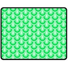 Awesome Retro Pattern Green Double Sided Fleece Blanket (Medium)