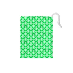 Awesome Retro Pattern Green Drawstring Pouches (small)