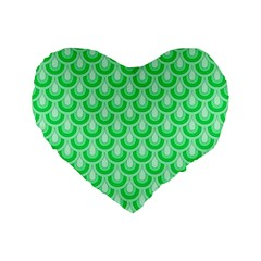 Awesome Retro Pattern Green Standard 16  Premium Flano Heart Shape Cushions