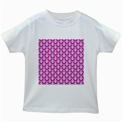 Awesome Retro Pattern Lilac Kids White T Shirts