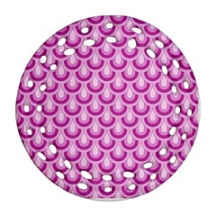 Awesome Retro Pattern Lilac Round Filigree Ornament (2side)