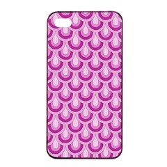 Awesome Retro Pattern Lilac Apple iPhone 4/4s Seamless Case (Black)