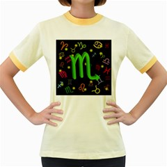 Scorpio Floating Zodiac Sign Women s Fitted Ringer T-Shirts