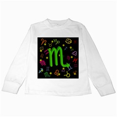 Scorpio Floating Zodiac Sign Kids Long Sleeve T-Shirts