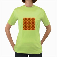Awesome Retro Pattern Red Women s Green T Shirt