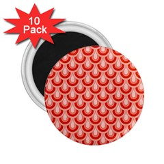 Awesome Retro Pattern Red 2 25  Magnets (10 Pack)