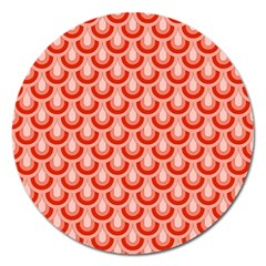 Awesome Retro Pattern Red Magnet 5  (round)