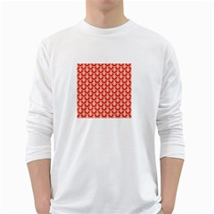 Awesome Retro Pattern Red White Long Sleeve T Shirts