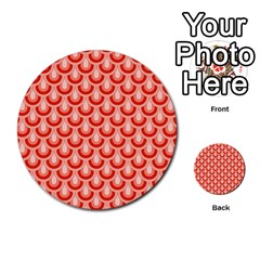 Awesome Retro Pattern Red Multi-purpose Cards (Round)