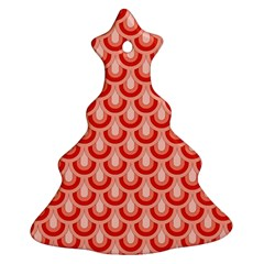 Awesome Retro Pattern Red Christmas Tree Ornament (2 Sides)