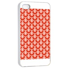 Awesome Retro Pattern Red Apple Iphone 4/4s Seamless Case (white)