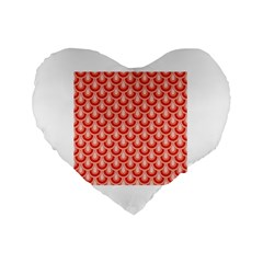Awesome Retro Pattern Red Standard 16  Premium Flano Heart Shape Cushions