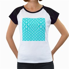 Awesome Retro Pattern Turquoise Women s Cap Sleeve T