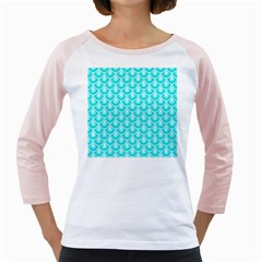 Awesome Retro Pattern Turquoise Girly Raglans
