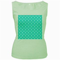 Awesome Retro Pattern Turquoise Women s Green Tank Tops