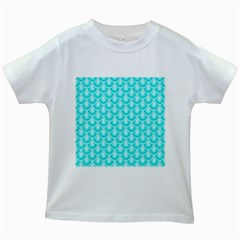 Awesome Retro Pattern Turquoise Kids White T Shirts