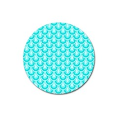Awesome Retro Pattern Turquoise Magnet 3  (round)