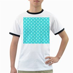 Awesome Retro Pattern Turquoise Ringer T Shirts