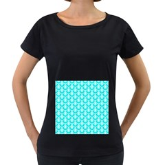 Awesome Retro Pattern Turquoise Women s Loose Fit T Shirt (black)
