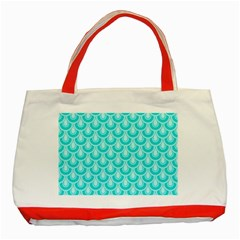 Awesome Retro Pattern Turquoise Classic Tote Bag (red)