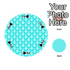 Awesome Retro Pattern Turquoise Playing Cards 54 (Round)