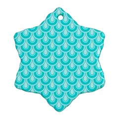 Awesome Retro Pattern Turquoise Snowflake Ornament (2-Side)