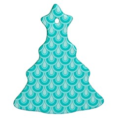 Awesome Retro Pattern Turquoise Christmas Tree Ornament (2 Sides)