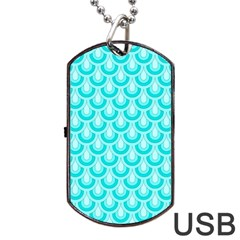 Awesome Retro Pattern Turquoise Dog Tag USB Flash (Two Sides)