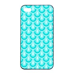 Awesome Retro Pattern Turquoise Apple iPhone 4/4s Seamless Case (Black)