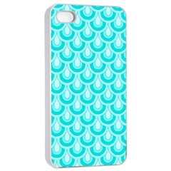 Awesome Retro Pattern Turquoise Apple iPhone 4/4s Seamless Case (White)