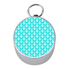Awesome Retro Pattern Turquoise Mini Silver Compasses