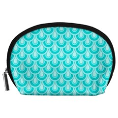 Awesome Retro Pattern Turquoise Accessory Pouches (large)