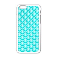 Awesome Retro Pattern Turquoise Apple Iphone 6 White Enamel Case