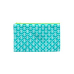Awesome Retro Pattern Turquoise Cosmetic Bag (XS)