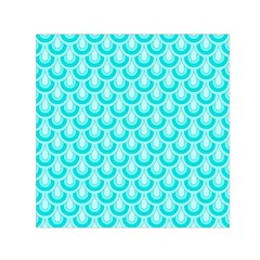 Awesome Retro Pattern Turquoise Small Satin Scarf (square)