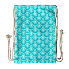 Awesome Retro Pattern Turquoise Drawstring Bag (Large)