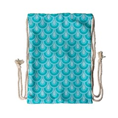 Awesome Retro Pattern Turquoise Drawstring Bag (Small)