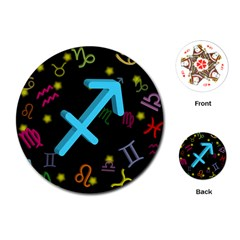 Sagittarius Floating Zodiac Sign Playing Cards (Round)
