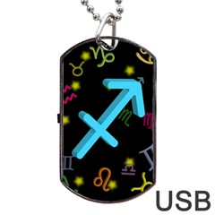 Sagittarius Floating Zodiac Sign Dog Tag Usb Flash (two Sides)