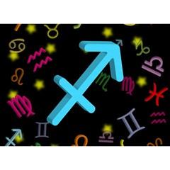 Sagittarius Floating Zodiac Sign Birthday Cake 3D Greeting Card (7x5)
