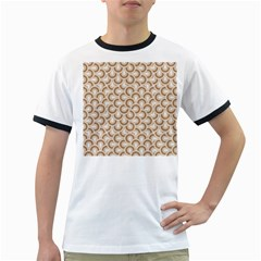 Retro Mirror Pattern Brown Ringer T Shirts