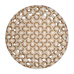 Retro Mirror Pattern Brown Ornament (round Filigree)