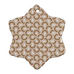 Retro Mirror Pattern Brown Ornament (snowflake)