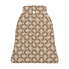 Retro Mirror Pattern Brown Bell Ornament (2 Sides)