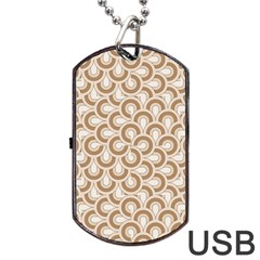 Retro Mirror Pattern Brown Dog Tag USB Flash (Two Sides)
