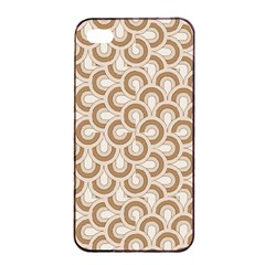 Retro Mirror Pattern Brown Apple iPhone 4/4s Seamless Case (Black)