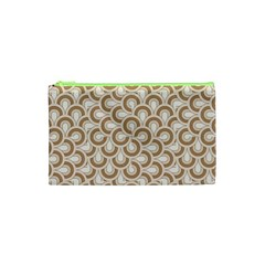 Retro Mirror Pattern Brown Cosmetic Bag (XS)