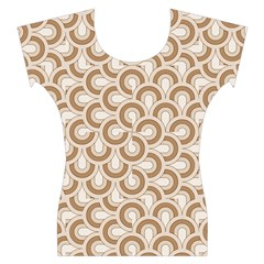 Retro Mirror Pattern Brown Women s Cap Sleeve Top