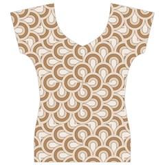 Retro Mirror Pattern Brown Women s V-Neck Cap Sleeve Top