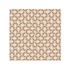 Retro Mirror Pattern Brown Small Satin Scarf (square)